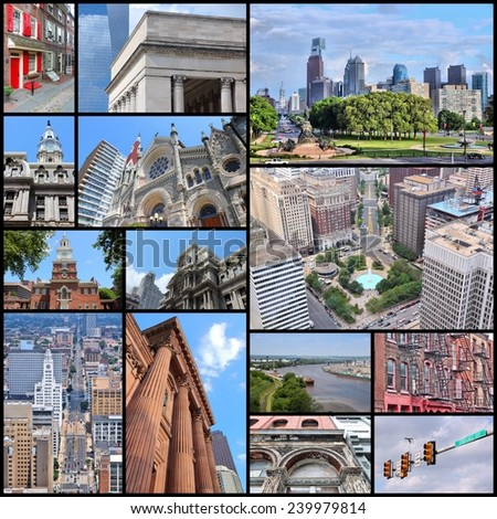 Philadelphia, United States - photo collage. Collection includes major landmarks like Independence Hall, the City Hall and JFK Plaza. - stock photo