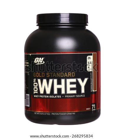 PHILADELPHIA, USA - APRIL 9, 2015: Gold Standard 100% Whey protein made by Optimum Nutrition  Company. isolated on white background - stock photo