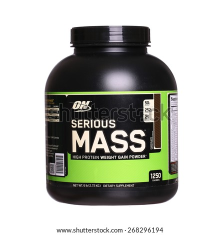 PHILADELPHIA, USA - APRIL 9, 2015: Protein Powder Weight Gainer Serious Mass made by Optimum Nutrition  Company. isolated on white background - stock photo