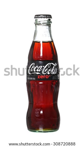 PHILADELPHIA, USA - AUGUST 22, 2015: Coca-Cola Zero glass bottles. A reduced calorie soft drink Isolated On White Background. - stock photo