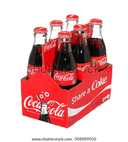 PHILADELPHIA, USA - AUGUST 23, 2015: 6 pack of Coca-Cola  Classic glass bottles. Isolated On White Background. - stock photo
