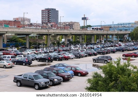 PHILADELPHIA, USA - JUNE 11, 2013: Multiple cars parked in Philadelphia. As of 2012 Philadelphia is the 5th most populous city in the US with 1,547,607 citizens. - stock photo