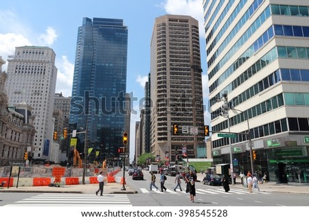 PHILADELPHIA, USA - JUNE 11, 2013: People walk in downtown Philadelphia. As of 2012 Philadelphia is the 5th most populous city in the US with 1,547,607 citizens. - stock photo