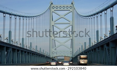 PHILADELPHIA, USA - MAY 9: Benjamin Franklin Bridge in Philadelphia, USA, as seen on May 9, 2015. It is a suspension bridge across the Delaware River connecting Philadelphia and Camden, New Jersey. - stock photo