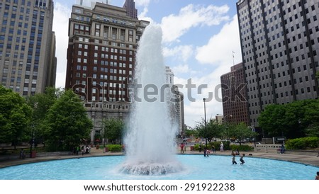 PHILADELPHIA, USA - MAY 10: Fountain at LOVE Park in Philadelphia, USA, as seen on May 10, 2015. The park is nicknamed Love Park for Robert Indiana's Love sculpture which overlooks the plaza. - stock photo