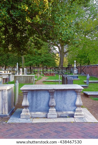 Philadelphia, USA - May 5, 2015: Graveyard at Christ Church Burial Ground in Philadelphia, Pennsylvania, USA. It is Benjamin Franklin resting place.  Selective focus