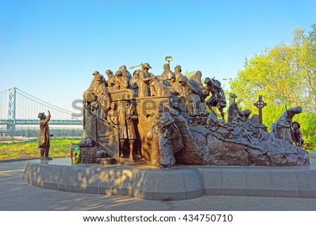 Philadelphia, USA - May 4, 2015: Memorial to Irish famine at Penns Landing in Philadelphia, Pennsylvania, the USA. - stock photo