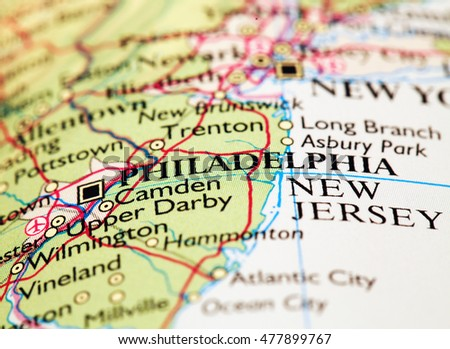 Philadelphia USA, on atlas world map