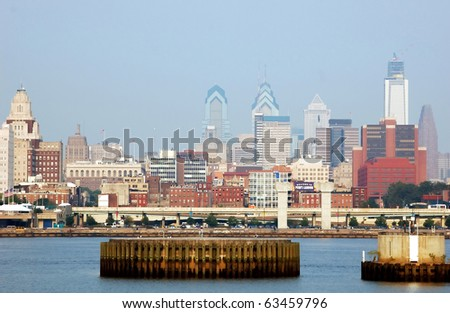 Philadelphia waterfront at Penn's Landing - stock photo