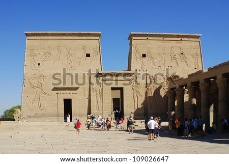 PHILEA TEMPLE, EGYPT NOV. 23: The complex was dismantled and relocated to nearby Agilkia Island during a UNESCO project started because of the construction of the Aswan Dam on November 23 2008
