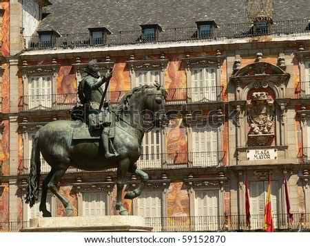 Philip III on his house in plaza mayor in the centre of madrid