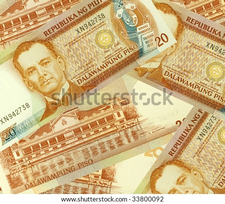 Philippine Money Peso Banknotes background. - stock photo