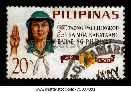 PHILIPPINES - CIRCA 1980:A stamp printed in PHILIPPINES shows image of the Scout Movement in the Philippines, circa 1980. - stock photo