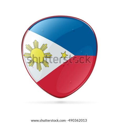 Philippines Flag Icon, isolated on white background.