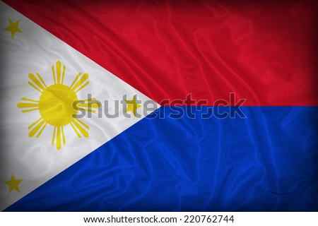 Philippines flag pattern on the fabric texture ,vintage style - stock photo