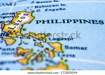 Philippines marker on map, asia countries. - stock photo