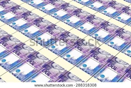 Philippines peso bills stacks background. - stock photo