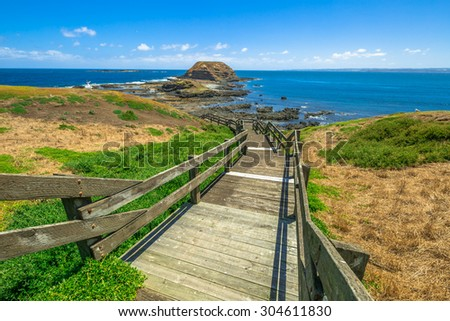 Phillip Island Nature Park, The Nobbies, boardwalks to Seal Rocks. Grant Point, western tip of Phillip Island, Victoria, Australia. - stock photo