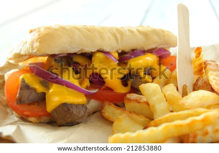 Philly cheese beef steak sandwich and french fries  - stock photo