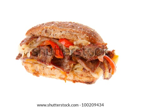 Philly cheese stake on a small artisan roll - stock photo