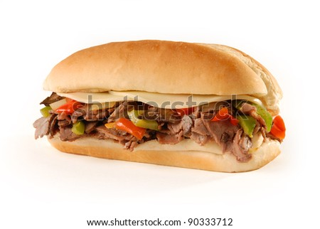 Philly cheesesteak sandwich on white