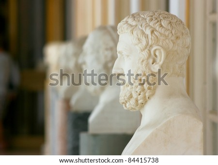 Philosophers busts placed on the terrace of Achillion palace, Corfu, Greece - stock photo