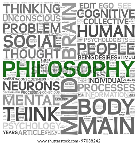 Philosophy concept in word tag cloud on white background