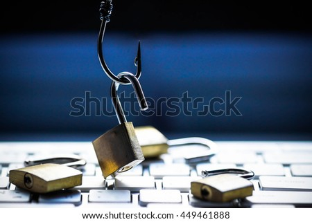 Phishing attack computer system - stock photo
