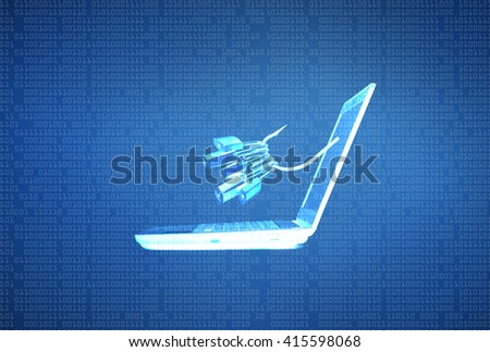 phishing attack on computer data - stock photo