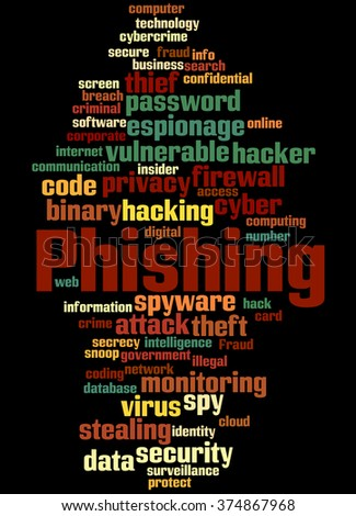 Phishing, word cloud concept on black background.