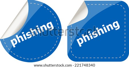 phishing word with lock on black stickers set - stock photo