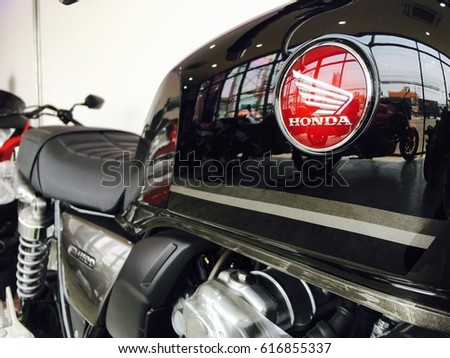 Phitsanulok province, Thailand - April 7, 2017: Close up logo Honda super bike motorcycle at showroom Honda Big wing Phitsanulok.