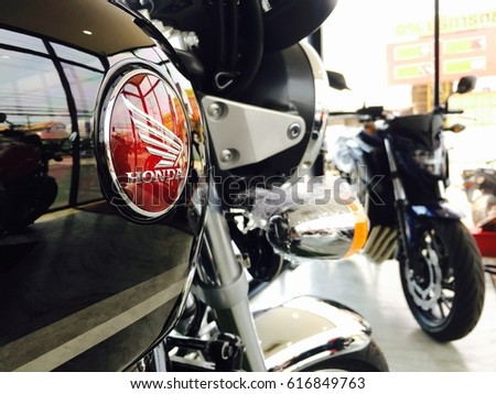 Phitsanulok province, Thailand - April 7, 2017: Close up logo Honda super bike motorcycle model CB1100ex with CB650f at showroom Honda Big wing Phitsanulok.