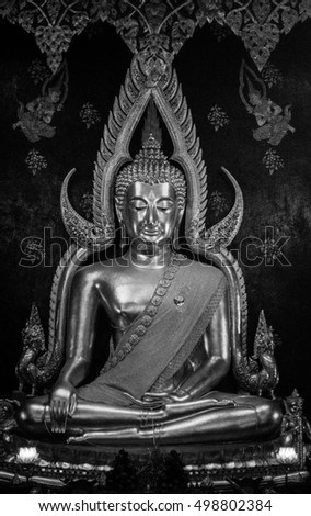 Phitsanulok, Thailand - October 13, 2016 : The most beautiful buddha in Thailand, Phra Phuttha Chinnarat. It is located in Wat Phra Si Rattana Mahathat.