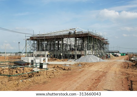 PHITSANULOK - THAILAND : SEPTEMBER 03, 2015 : 230 kV Gas insulated switchgear building and its switchgear under-construction.