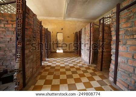 PHNOM PENH, CAMBODIA FEB 1: Tuol Sleng, a school turned into S-21, a prison and torture center used by the Khmer Rouge. February 1, 2015 in Phnom Penh, Cambodia.  - stock photo