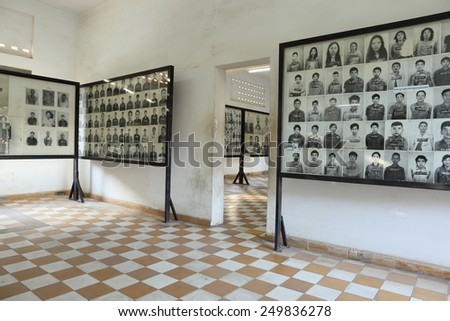 PHNOM PENH, CAMBODIA - FEBRUARY 3: Photos of torture victims at Tuol Sleng Genocide Museum FEBRUARY 3, 2015 in Phnom Penh, Cambodia - stock photo
