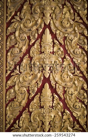 PHNOM PENH, CAMBODIA: NOV 18: The details of the door in Royal Palace which serves as the royal residence of the king of Cambodia and the temple on November 18 2014 in Phnom Penh, Cambodia. - stock photo