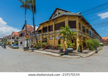 Phnom Penh / Cambodia - September 20 2014 : Kampot old ghost town architecture, Cambodia. Kampot is one of Indochina's best preserved colonial era towns. - stock photo