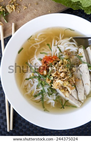 pho noodle vietnam food with chopstick on background - stock photo