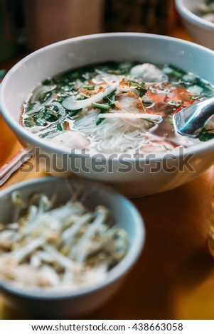 Pho with Pork and Meatballs eat with Sauce at Vientiane, Laos - stock photo