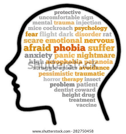 Phobia in word cloud concept - stock photo
