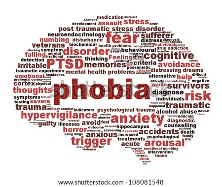 Phobia symbol isolated on white background. Anxiety disorder icon conceptual design - stock photo