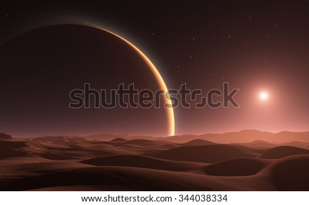 Phobos with red planet Mars in the background - stock photo