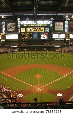 PHOENIX - APRIL 29: Chase Field, home of Diamondbacks on April 29, 2007 in Phoenix, Arizona. Opened in 1998 at a cost of $364 million, it seats 49,033 and will host the upcoming 2011 All-Star Game.