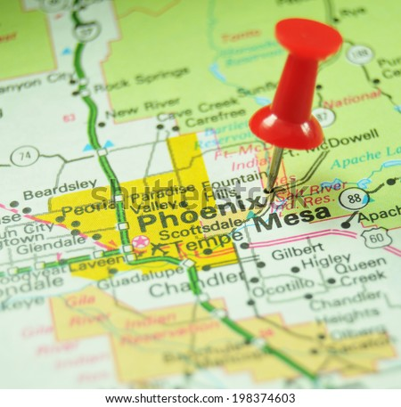 Phoenix Arizona On Us Map Stock Photo 198374603 Shutterstock