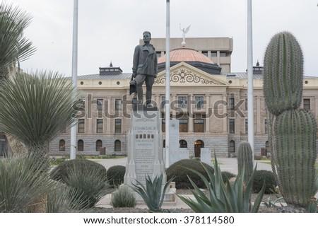 Phoenix, Arizona / USA - January 24, 2016: Arizona's WWI war heros statue in The Arizona State Capitol in Phoenix, Arizona, United States. - stock photo
