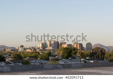 Phoenix, Arizona, USA - March 26, 2016: view to business downtown of Phoenix, Arizona, USA. Many tall bank buildings are located in Phoenix downtown.