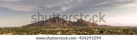 Phoenix,Az, Camelback Mountain, Wide extra detailed banner style landscape image  - stock photo
