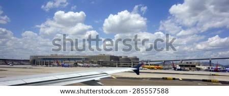 PHOENIX, AZ - MAY 16, 2015: Busy terminals in Phoenix Sky Harbor International airport, Arizona. - stock photo